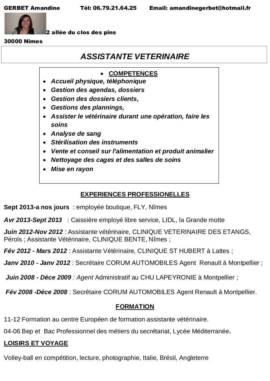 cv assistante veterinaire copie1 par ghislain