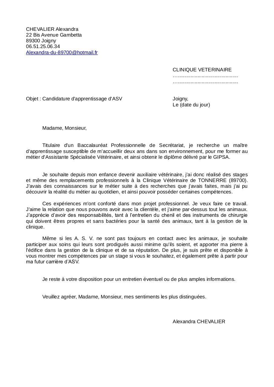 Lettre De Motivation Asv Chevalier Alexandra Par Alexandra Chevalier