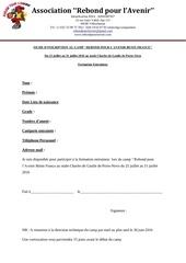 fiche d inscription formation entraineur