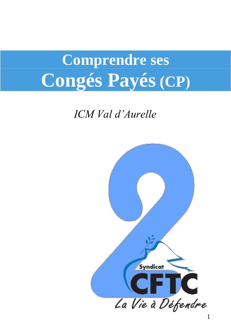 Fiche N 2 Cftc Conges Payes Fichier Pdf