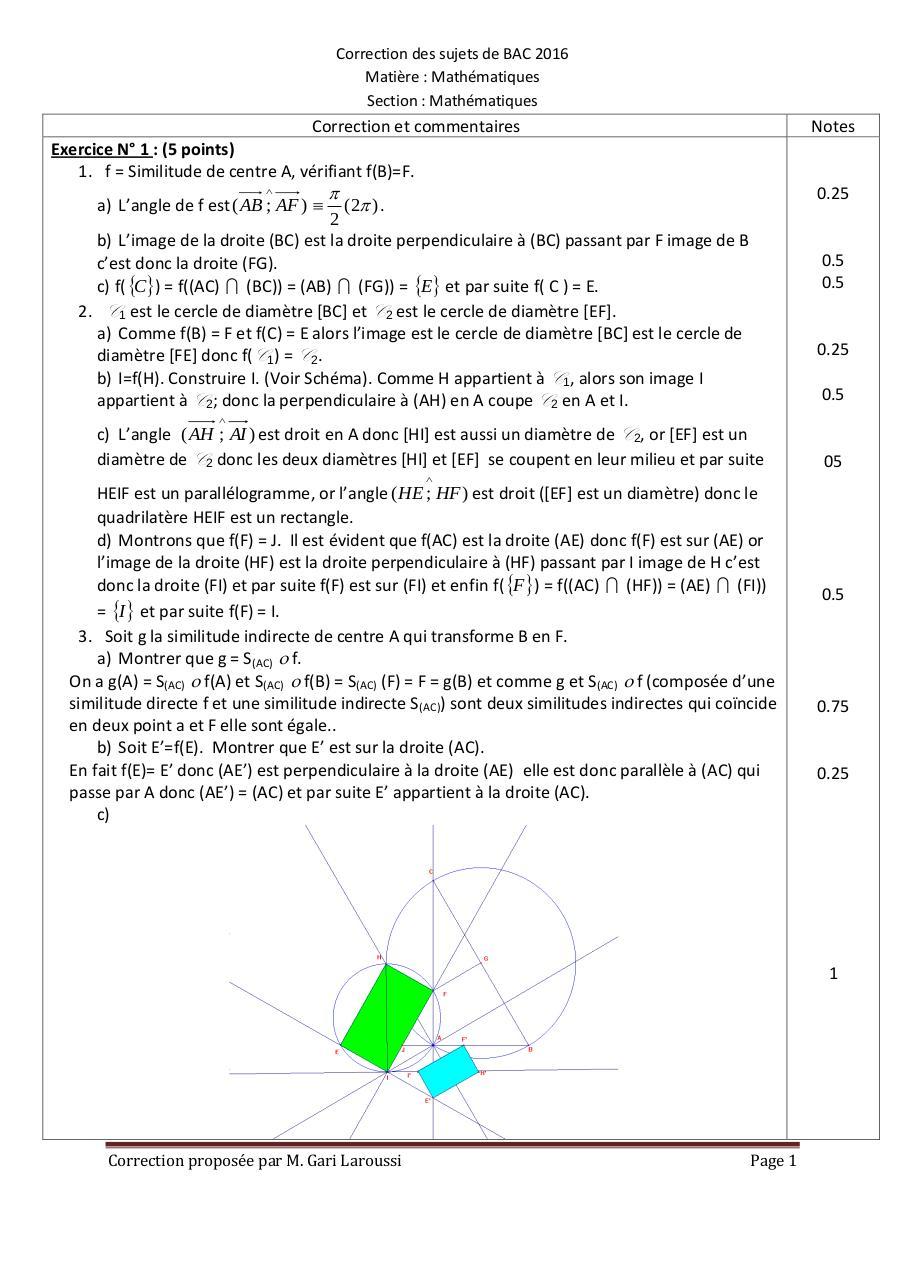 correction du sujet de bac 2016 maths maths par king service fichier pdf. Black Bedroom Furniture Sets. Home Design Ideas