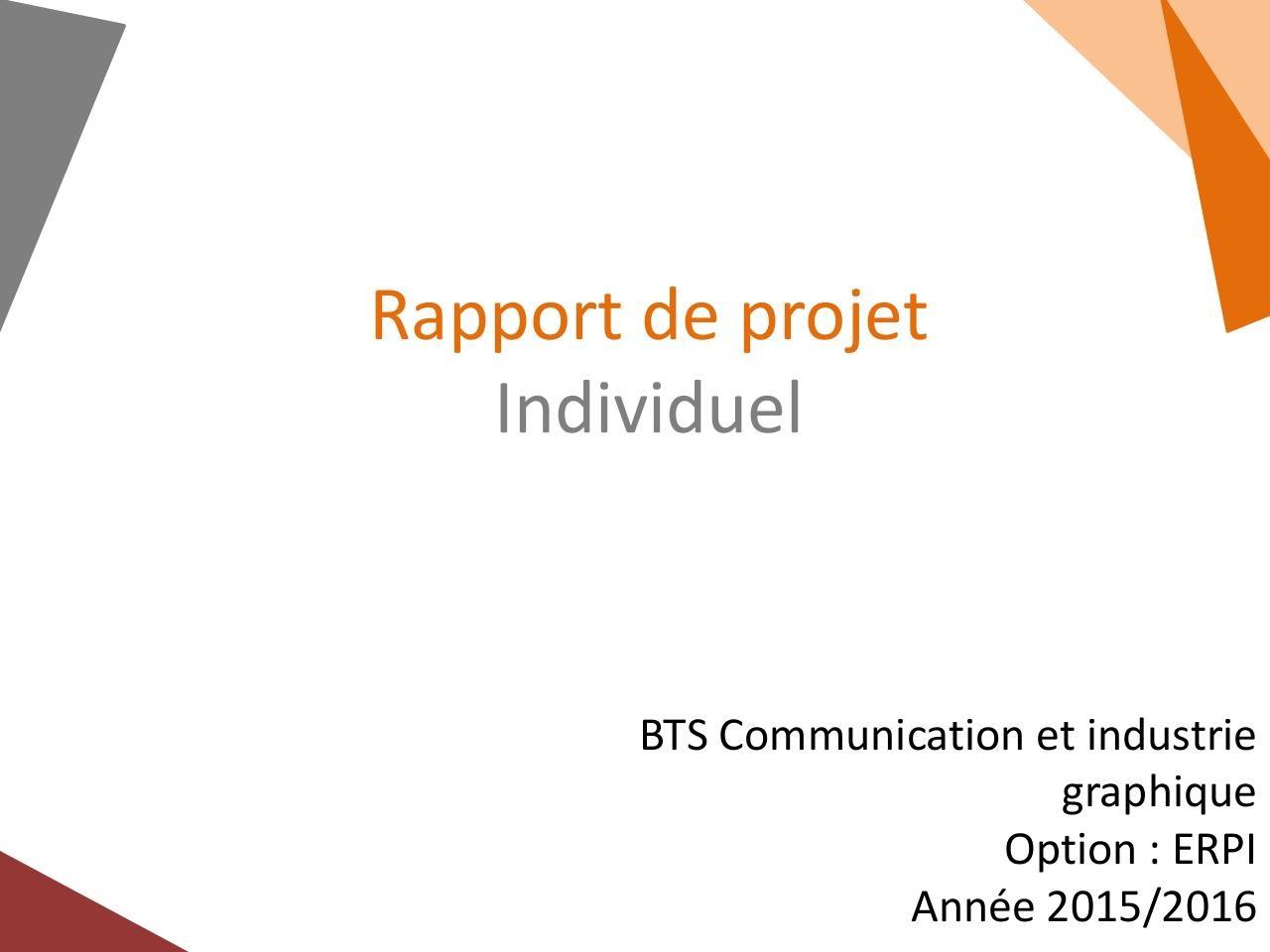 Rapport De Projet Individuel Par étienne Diapo Rapport De