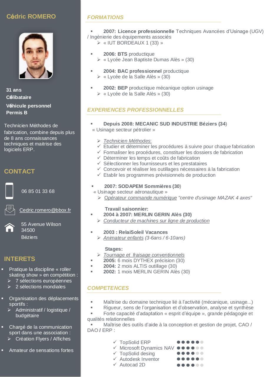 curriculum vitae romero cedric par c u0026dric