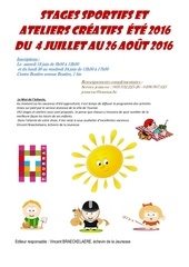 stages ateliers ete 2016