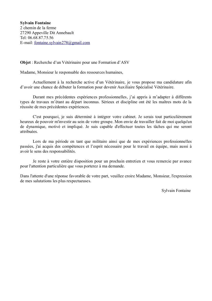 Lettre Motivation Sf Asv Par Sylvain Fontaine Fichier Pdf