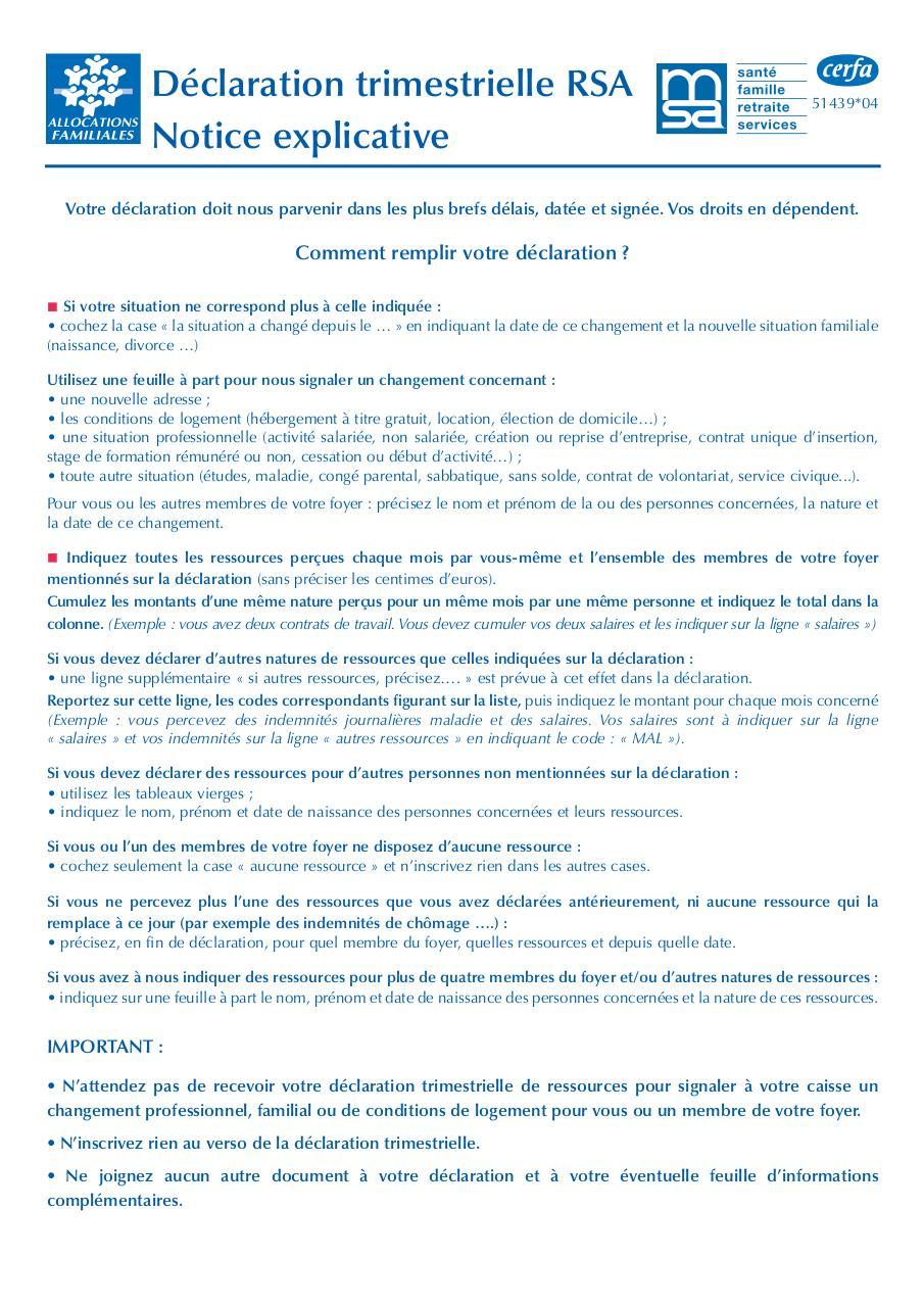 Rsa Declaration Trimestrielle 2 3 Fichier Pdf