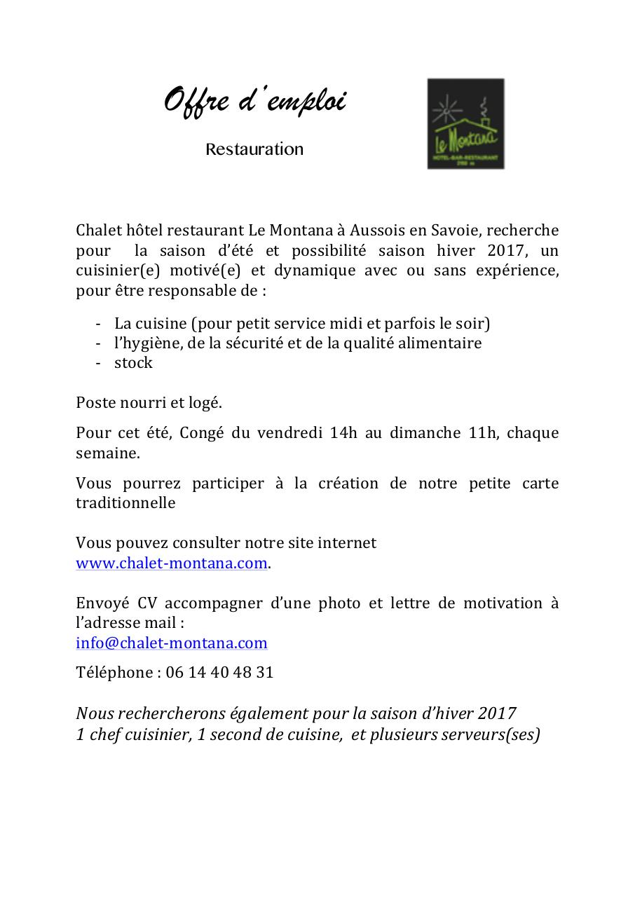 2016 offre d u0026 39 emploi lyc u00e9e hotelier docx