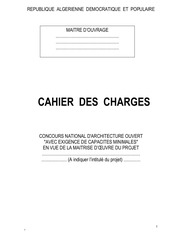 cahiers des charges concours ouvert