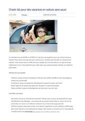 check list pour des vacances en voiture sans souci
