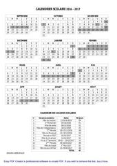 calendrier scolaire 2016 2017