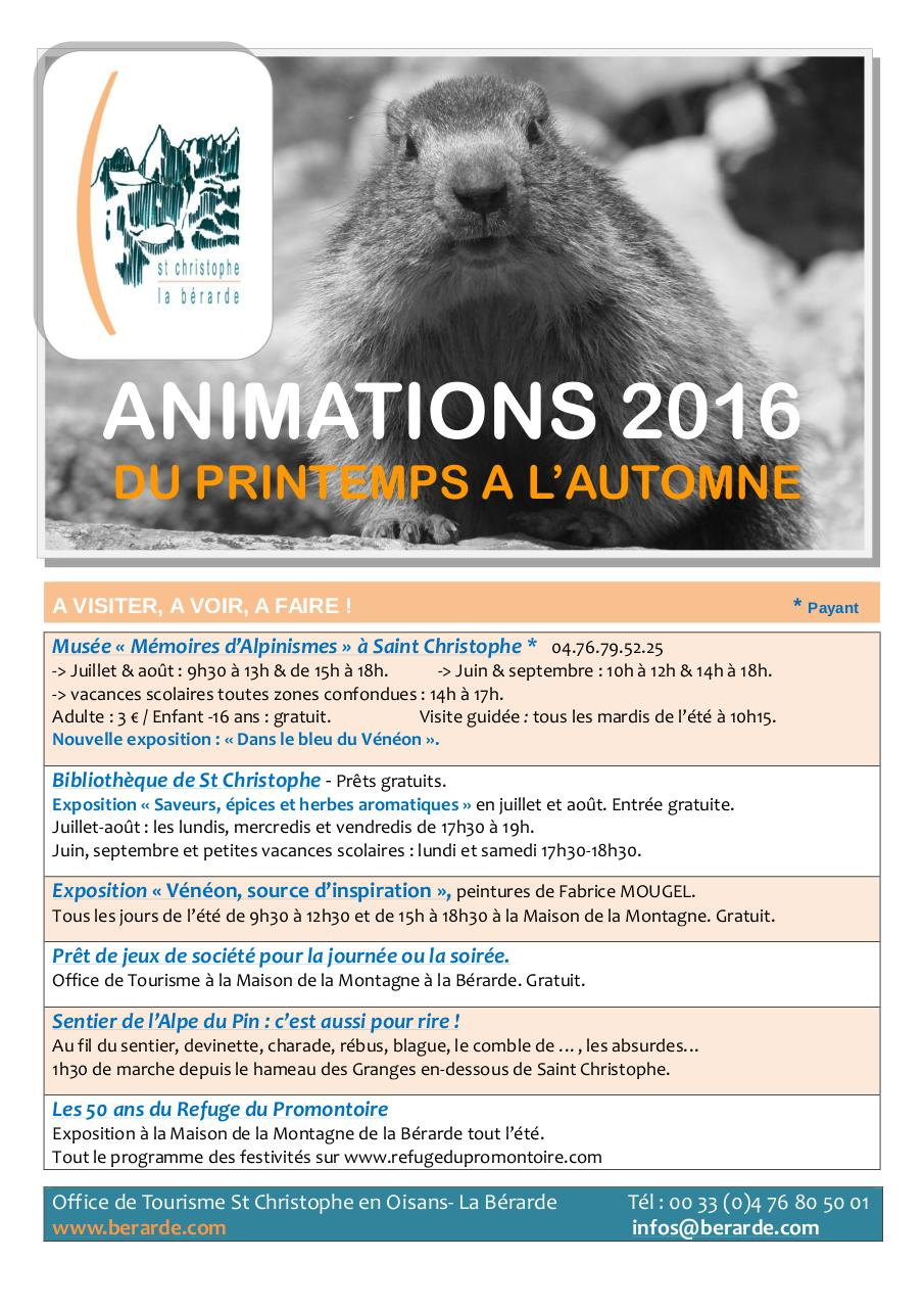 Aperçu du document Animations 2016 St Christophe en Oisans - La Bérarde.pdf - page 1/8