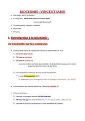 biochimie introduction acides amines cours
