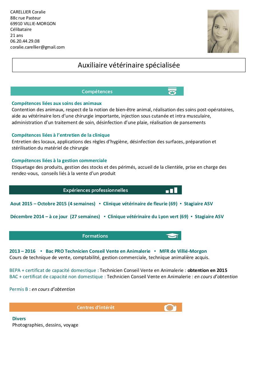 cv auxiliaire veterinaire pdf par coralie carellier