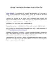 global translation services internship offer