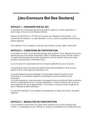 reglement bal des docks
