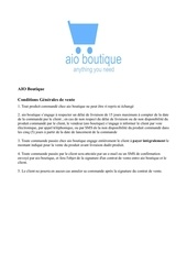 conditions de vente aio boutique
