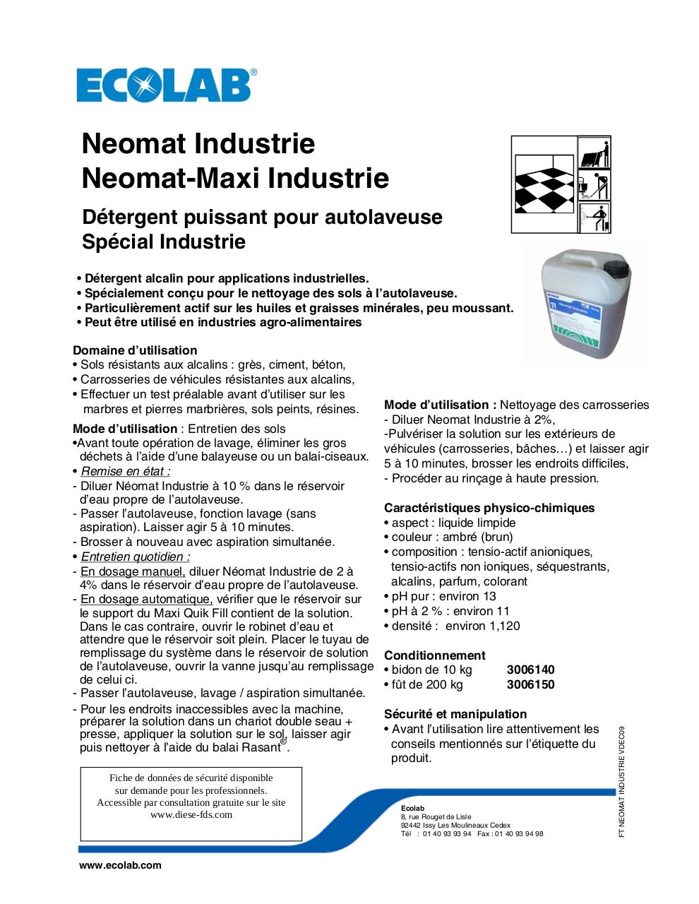 Aperçu du document NEOMAT INDUSTRIE - FT.pdf - page 1/1