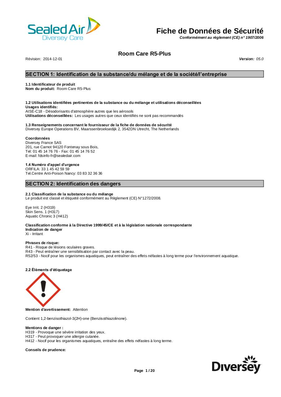 Aperçu du document ROOM CARE R5 PLUS - FDS.pdf - page 1/20