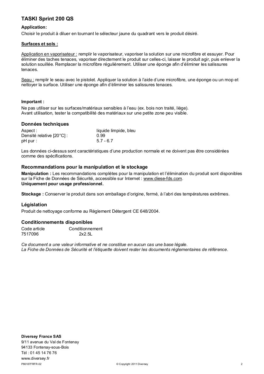 Aperçu du document SPRINT 200 QS - FT.pdf - page 2/2