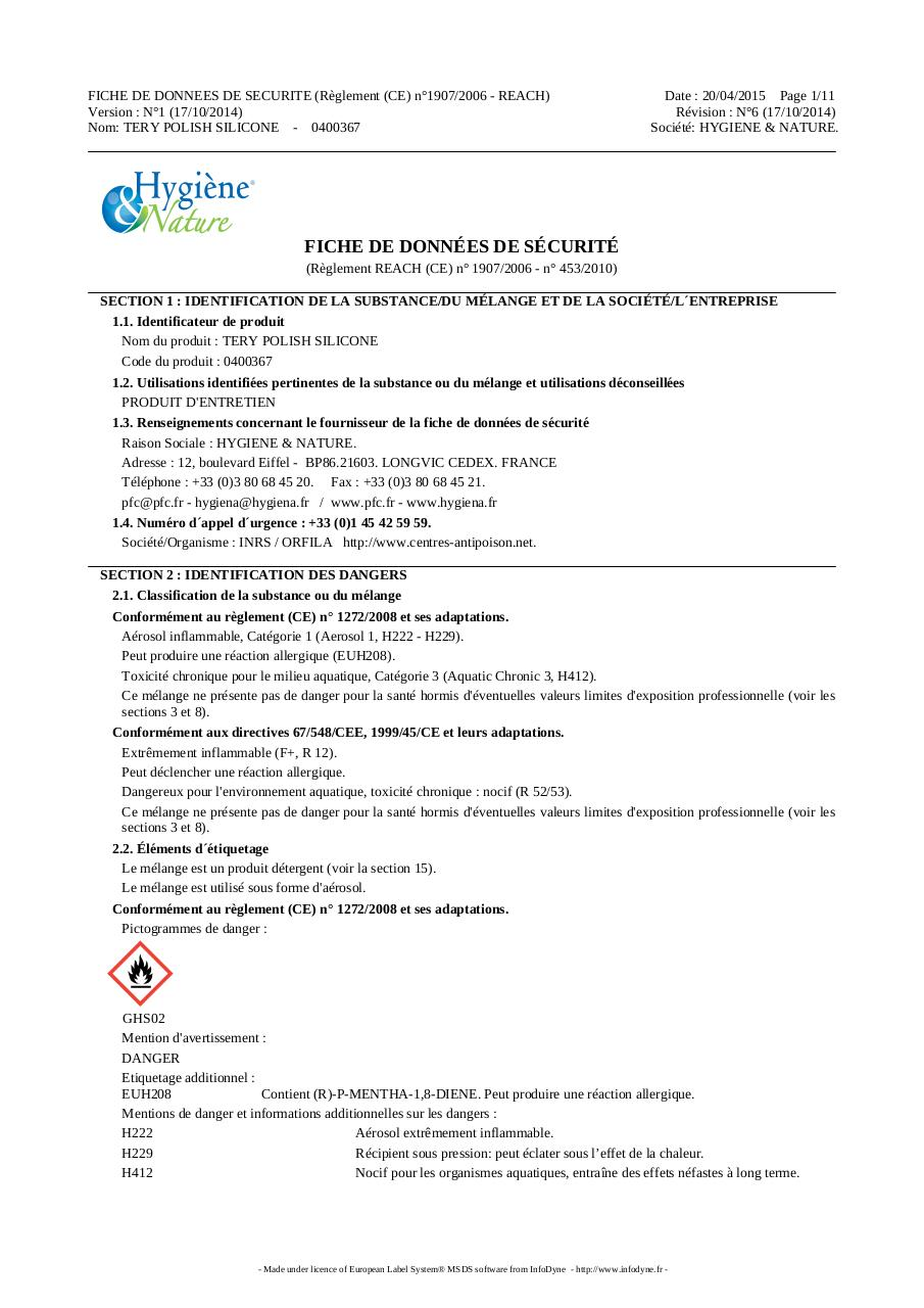 TERY POLISH AUX SILICONES - FDS.pdf - page 1/11