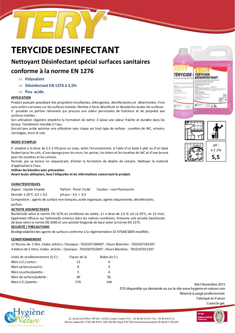 Aperçu du document TERYCIDE DESINFECTANT - FT.pdf - page 1/1