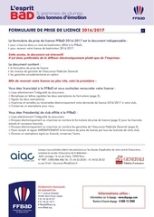 ffbad formulaire licence 2016 2017 interactif