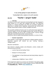 teacher project leader job offer