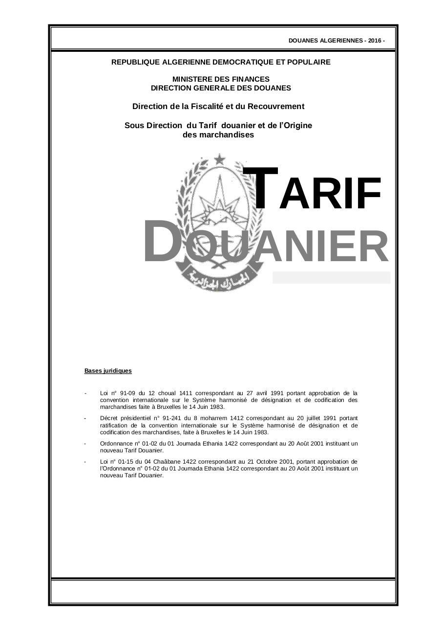 position tarifaire douane algerie