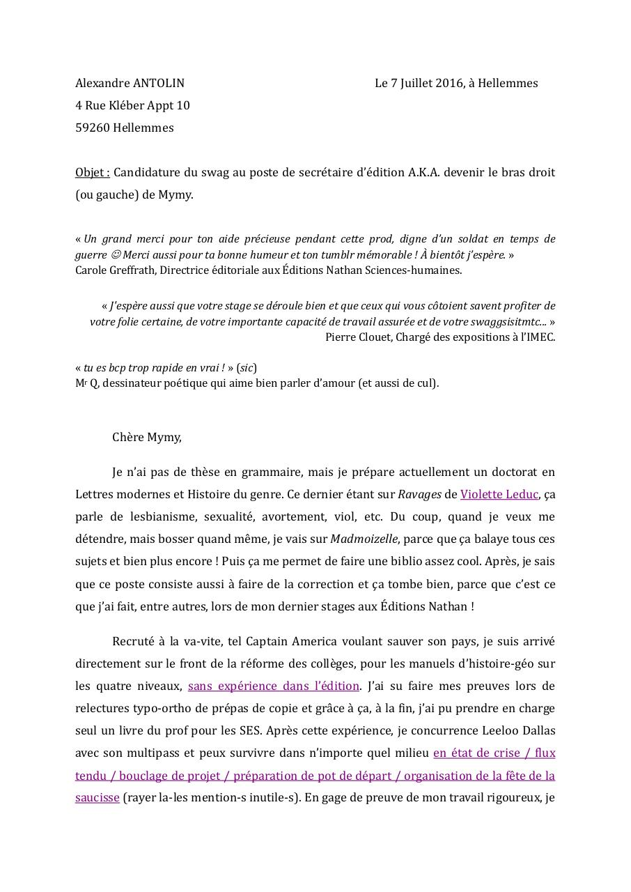 lettre de motivation madmoizelle alexandre antolin par