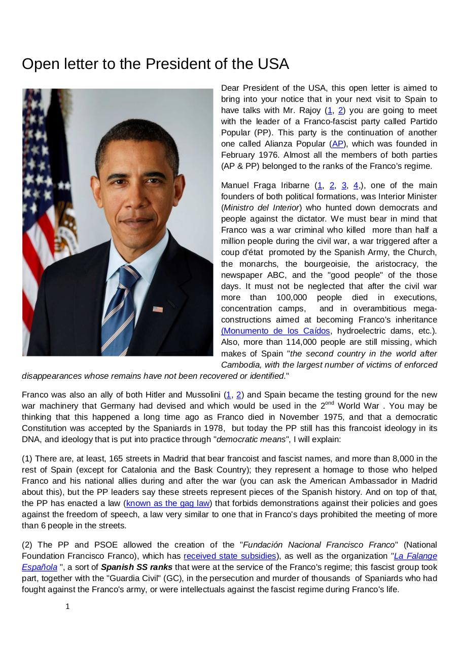 Open letter to the president of USA, Barack Obama.pdf - page 1/2