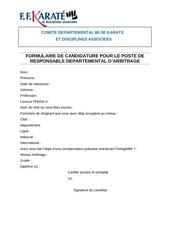 candidature responsable arbitrage departemental