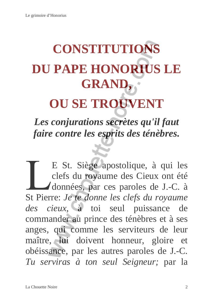 le grimoire du pape honorius pdf