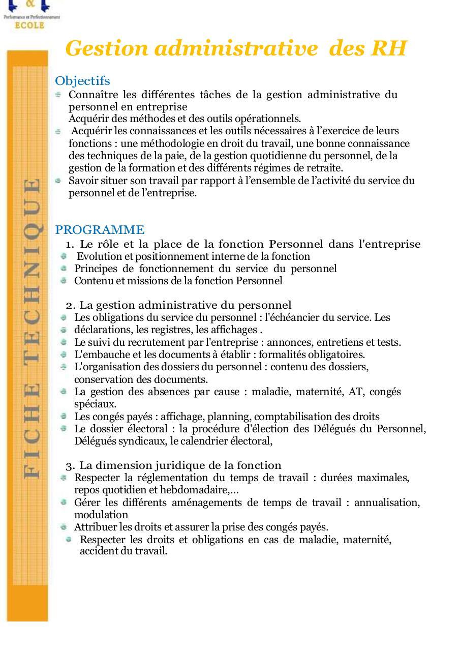 Ft Gestion Administrative Des Rh Par Walid Mersaoui Fichier Pdf