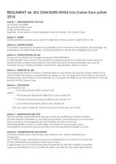 Fichier PDF reglement jeu concours nivea trio produit