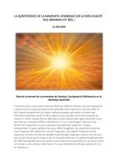 la quintessence de la mandukya upanishad sur la non dualite
