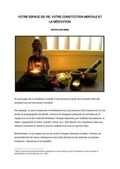 espace de vie constitution mentale et meditation