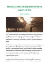 comment la pleine conscience rEvolutionne la santE mentale