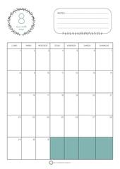 calendrier aout 2016 bleu turquoise