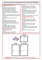 horaires entraenements cdf 26 07
