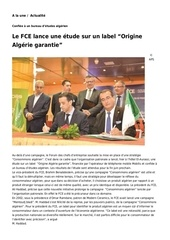 le fce lance une etude sur un label origine algerie garantie