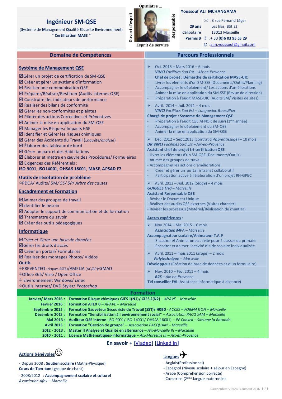 cv youssouf a m ingenieur-qse pdf par hk-j 1er