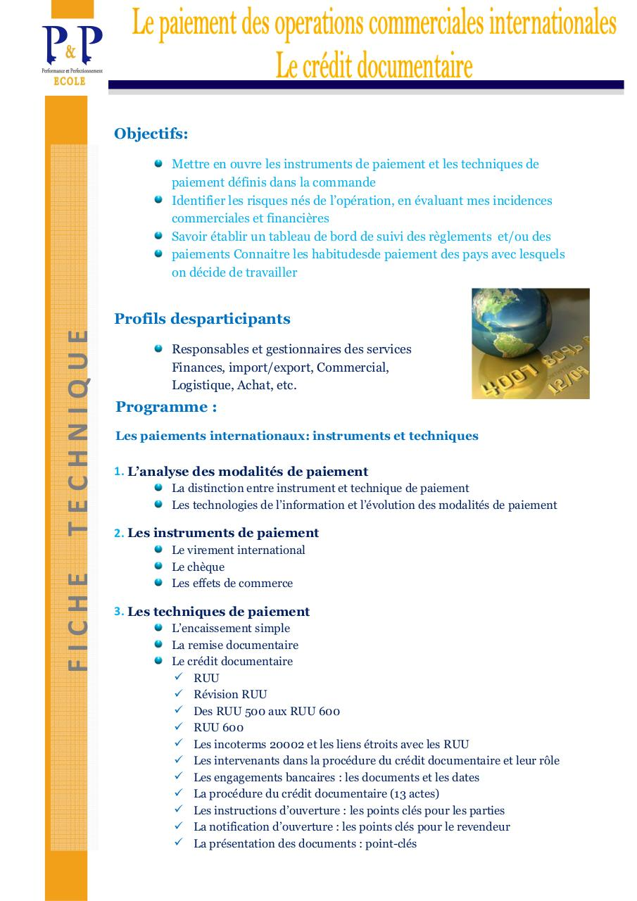 FT Le paiement des Operations Commerciales Internationales.pdf - page 1/2