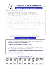 dossier incription 2016 2017