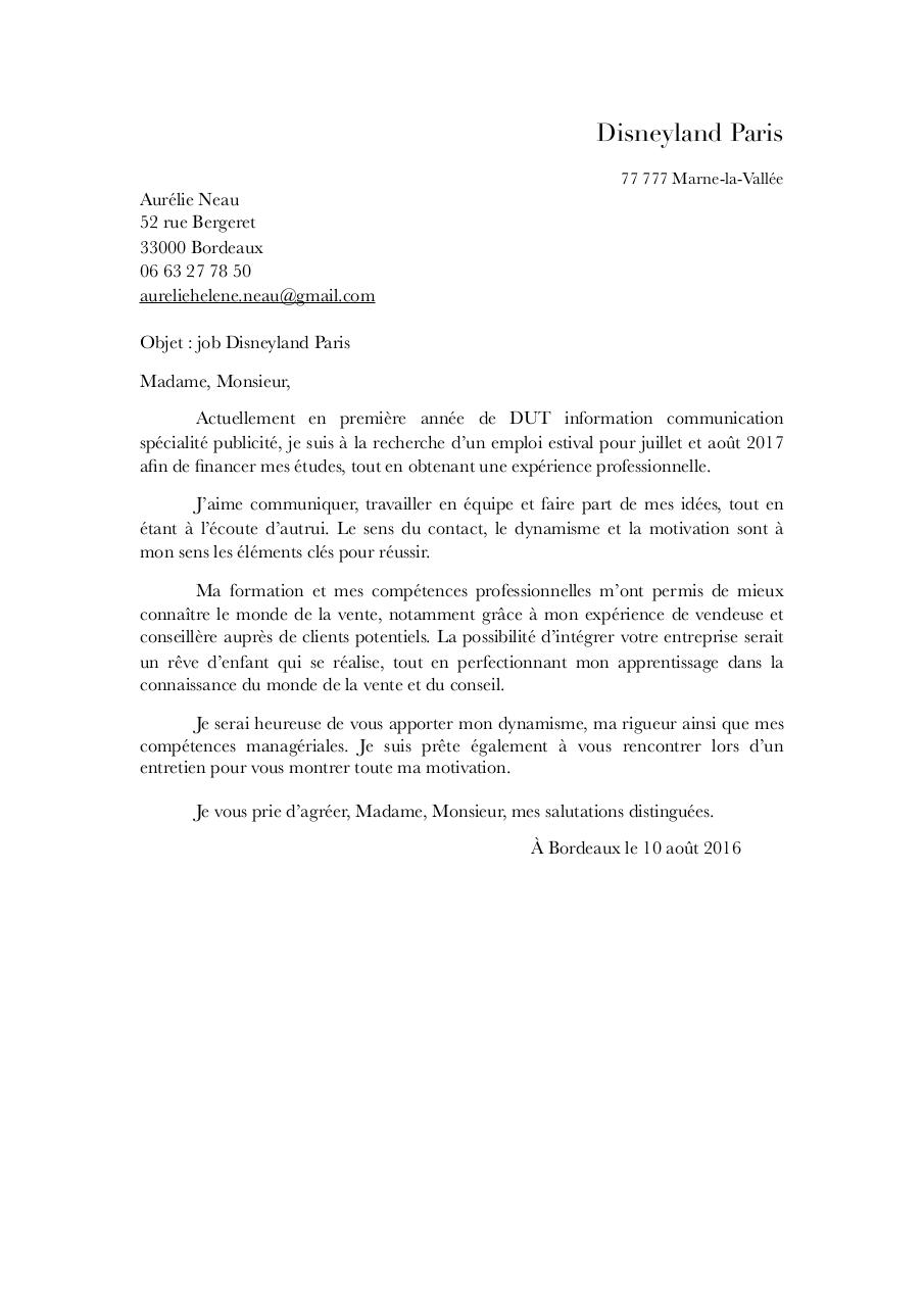 lettre motivation - lettre motivation disneyland pdf