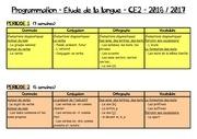 programmation etude de la langue ce2 2016 2017