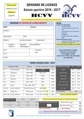 demande de licence 2016 2017