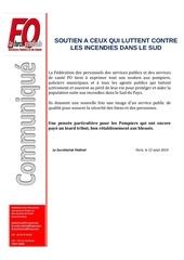 communique de soutien suite aux incendies dans le sud de la france