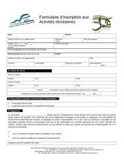 formulaire d inscriptionst pour les deux municipalite