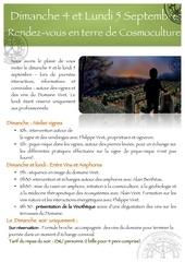 echanges en terre de cosmoculture le programme