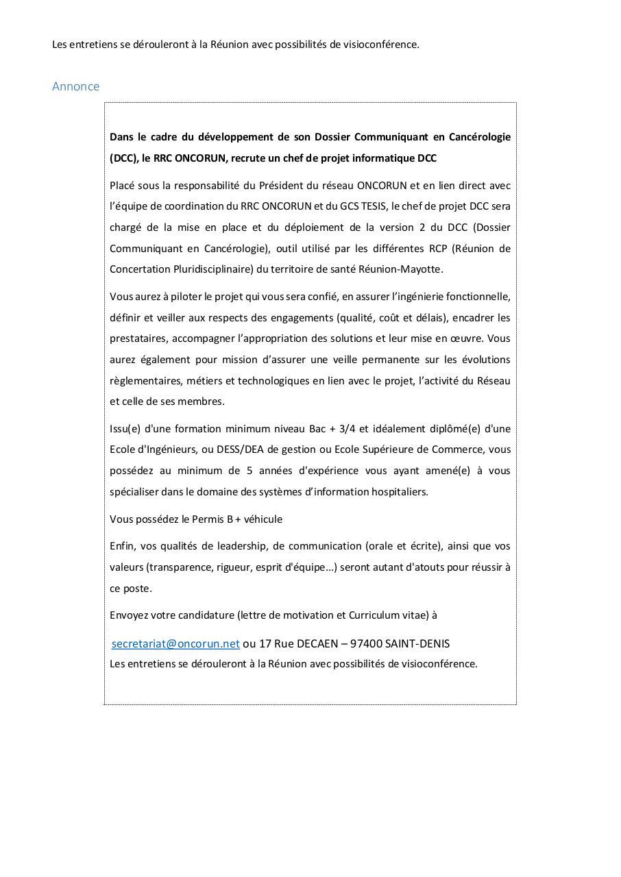 Fiche De Poste Chef De Projet Dcc Par Sec01 Fichier Pdf